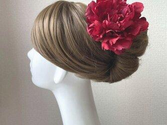 再販:シックな赤いピオニーのヘッドドレス 赤 芍薬 ダンス 髪飾り レッド フラメンコ レッドの画像