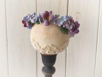 〈染め花〉ドール用すみれと勿忘草の花冠(L・パープル)の画像