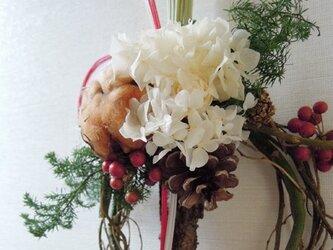 お正月飾り(コットンとアジサイ)の画像