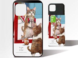 「トレーニングするネコ」ICカード収納付きiPhoneケースの画像