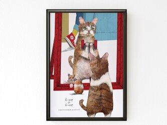 フレーム付きA3ポスター「トレーニングするネコ」 送料込みの画像