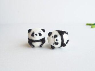 【受注製作】まゆパンダの赤ちゃん~薄目orぱっちりおめめ~  羊毛フェルトの画像