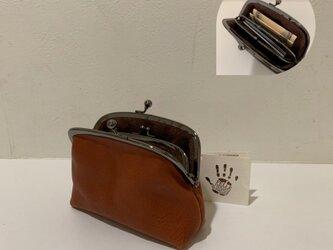 イタリアンレザー親子がま口財布◆アーチ型 ブラウン マチあり シルバーの画像