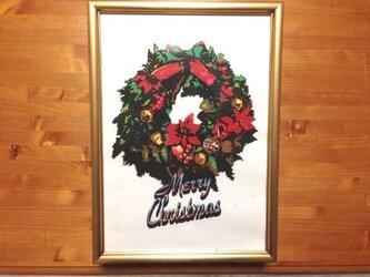 多色切り絵「クリスマスリース」①の画像