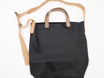 shoulder&hand bag(黒)/440*370*120/山羊&牛革/一枚革/ユニセックス/S&H004の画像
