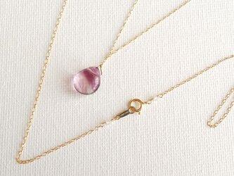 フローライトの一滴ネックレス 桃紫の画像