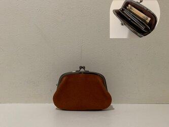 イタリアンレザー親子がま口財布◆アーチ型 ブラウン の画像