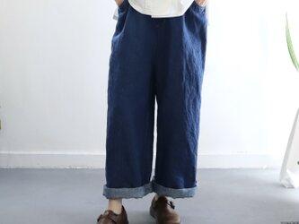 linen denim straight wide pantsの画像