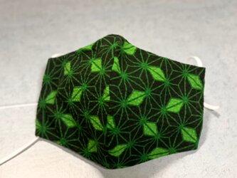 【改良版】立体マスクL (さらし) 【和柄・麻の葉★緑】の画像