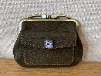 【送料無料】ぱかっと開くとお部屋が3つの親子がまぐち*外ポッケのついた、四角い本革ミニ財布の画像