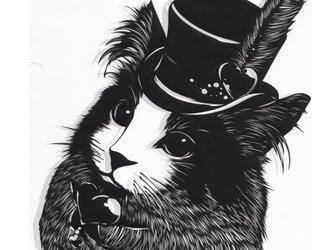 額装済み切り絵原画・ハートの貴族の猫の画像