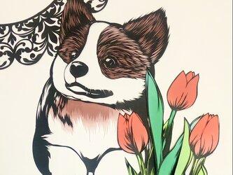 額装済み切り絵原画・春のまほろばの画像