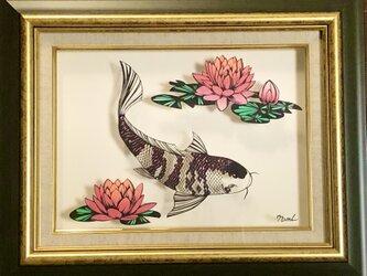 額装済み切り絵原画・錦鯉の池の画像