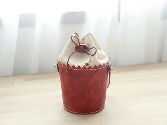 【カップケーキ】2 Way トートバッグ 本革の巾着ショルダーバッグの画像