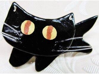 黒猫キラ~リ(粘土ブローチ)・IBー4の画像