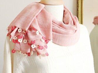 【限定1点】レースの花付き サマーコットンストール「マリー/2辺」ストロベリー・ピンクの画像
