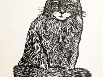 額装済み切り絵原画・青い目の猫の画像