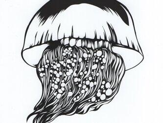 額装済み切り絵原画・エチゼンクラゲの画像