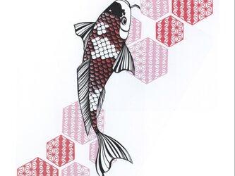 額装済み切り絵原画・和柄鯉の画像