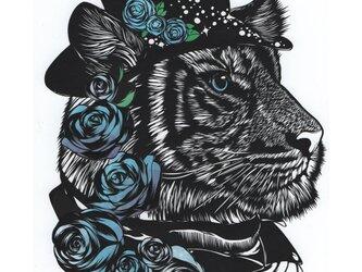 額装済み切り絵原画・青い薔薇の虎の画像