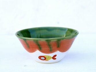 織部釉と赤い金魚絵のbowl(イエロー)の画像