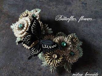 つまみ細工 髪飾り (  大正浪漫的 喋よ花よ  黒いアゲハ蝶(辛) )の画像