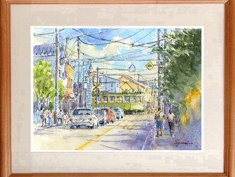 水彩画原画 江ノ電・長谷駅前通り #467の画像