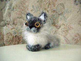 SOLD もしゃ猫あみぐるみ(グレー×白)の画像