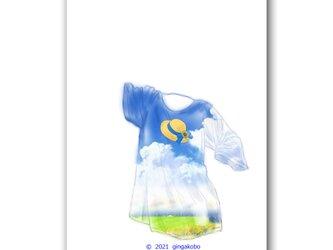 「夏に吹かれて」 青空 麦わら帽子 Tシャツ ほっこり癒しのイラストポストカード2枚組No.1419の画像