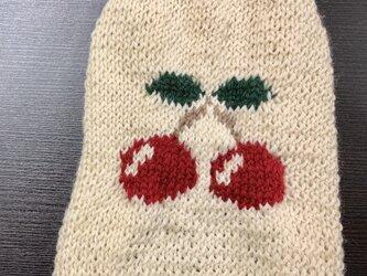 [オーガニックウール・秋冬] さくらんぼのセーター(小型犬用・胴回り33)【オーダー可】の画像