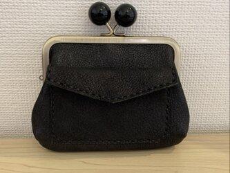 【送料無料】ぱかっと開くとお部屋が3つの親子がまぐち♪外ポッケが付いたあめ玉口金の四角い本革ミニ財布(ブラックレザー)の画像