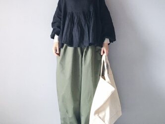 French linen canvas gather blouse(Long sleeve)/BLACKの画像
