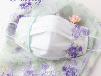 重ね付け用布マスク レース刺繍 グリーン マスクカバー 口元ワイヤー入りの画像