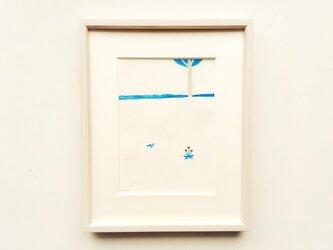 原画「小さな春」水彩イラスト ※木製額縁入りの画像