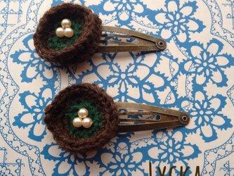 毛糸のパッチンピン◎茶×緑の画像