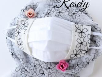重ね付け用布マスク レース刺繍 花柄黒 マスクカバー 口元ワイヤー入りの画像