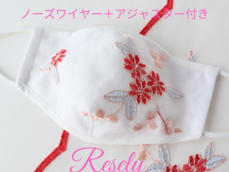Mサイズ【8サイズ対応可】向夏 白 布マスク レース刺繍 有料フィルターポケットの画像