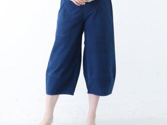 『 Tomo 』 コットン100% 手織り クロップド丈 インディゴ染め カジュアル カーブパンツの画像