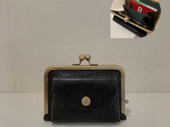 姫路レザーmini仕切りがま口財布◆黒 ポッケ付きの画像