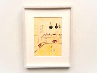 原画「夕暮れキッチン」水彩イラスト ※木製額縁入りの画像