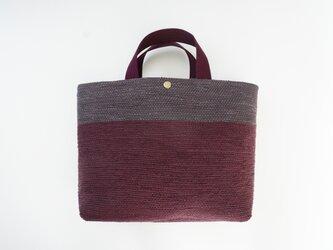 裂き織りのバッグM  ボルドー×チャコールの画像