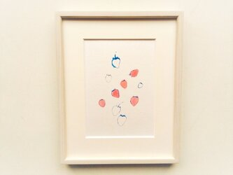 「苺」イラスト原画 ※木製額縁入りの画像