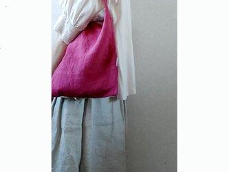 肩掛けbag & 巾着  赤紫+白の画像