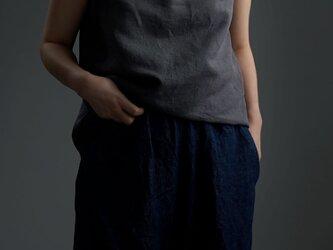 【Mサイズ】【wafu】雅亜麻 Linenシャーリング ネック インナーとしても/墨色 すみいろ p014c-smi1-Mの画像