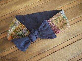 手織り リボンスカーフ ヘアバンドの画像