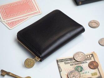 ラウンドファスナー コンパクト 財布(ブラック)牛革 レディース メンズの画像