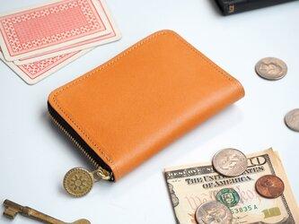 ラウンドファスナー コンパクト 財布(ビスケット ベージュ)牛革 レディース メンズの画像