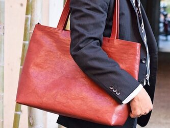 テレビCM登場作品 栃木レザー トートバッグ ファスナー付き 丈夫 大容量 ワインレッド ヌメ革 カバン 鞄 JAB001の画像