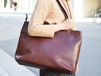 テレビCM登場作品 栃木レザー トートバッグ ファスナー付き 丈夫 大容量 チョコ ヌメ革 カバン 鞄 JAB001の画像