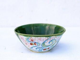 織部釉と桜、金魚、流水の絵図鉢(大)の画像